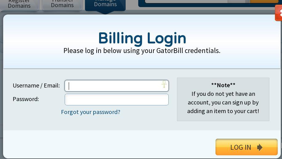 HostGator美国主机域名管理帐户登录
